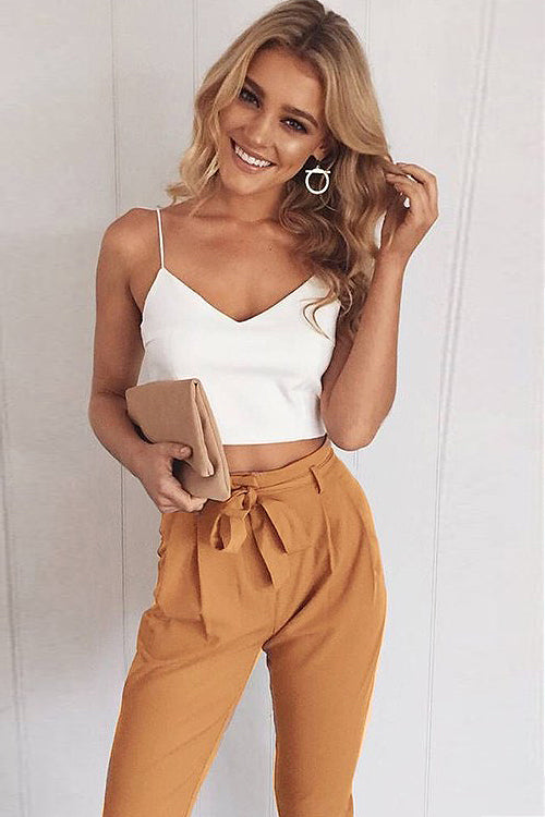 Pure Whit Camisole Bowknot Casual Suit