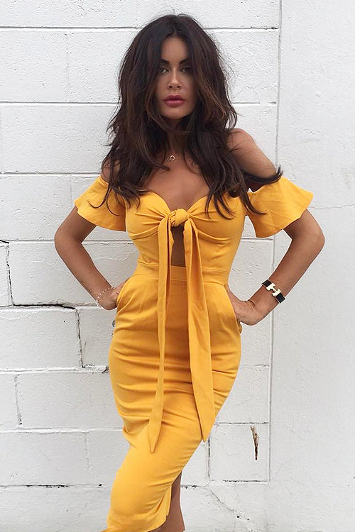 Yellow Tie-Front  Midi Dress