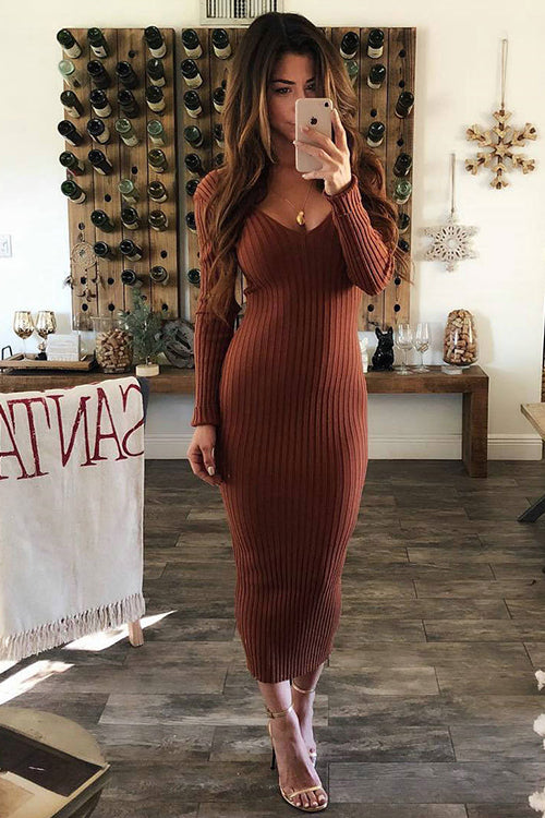 Cozy Delight V-Neck Sweater Body-Con Dress