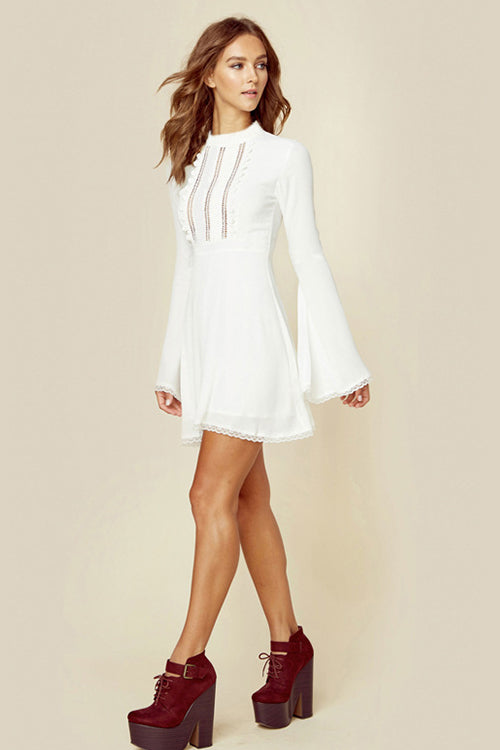 White Bell Sleeve High Waist  Mini Dress