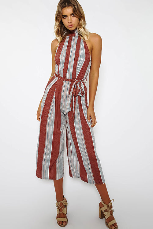 Brown Stripe Sleeveless Jumpsuit