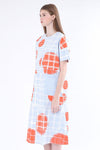 Orange Dotted Crew Neck Plaid Midi Dress