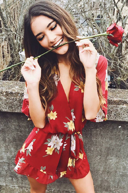 Red Floral Print V Neck Chiffon Romper
