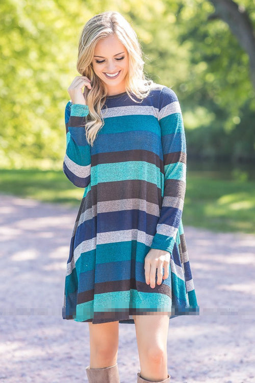 Blue Stripe Long Sleeve Mini Dress