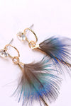 Peacock Blue Feather Earrings
