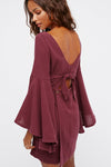 Bare-midriff Ruffle Sleeve Mini Dress