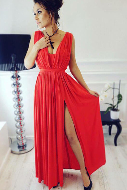Party Tonight Side Slit Pleated Maxi Dress