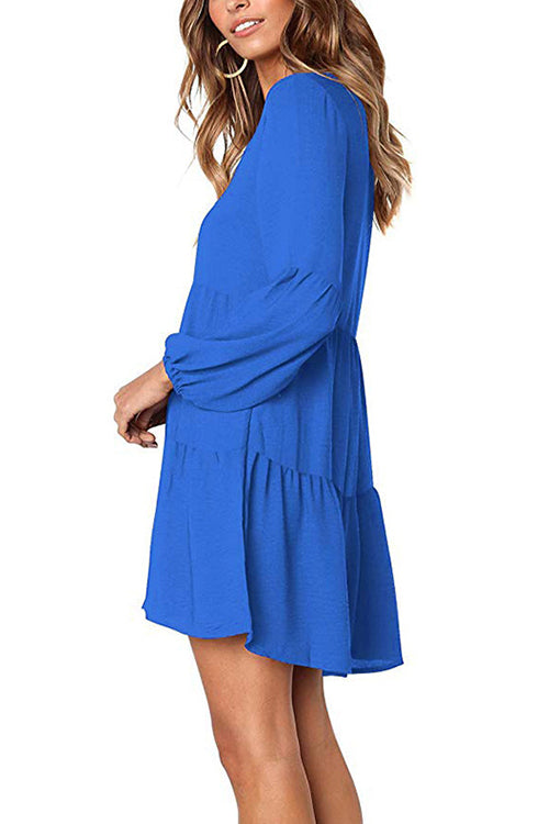 Happy Together Puff Sleeve Ruffle Dress