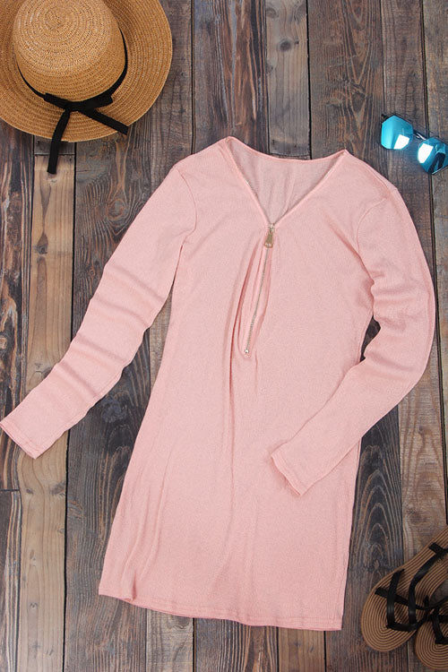 Zip Neck Sweater Dress
