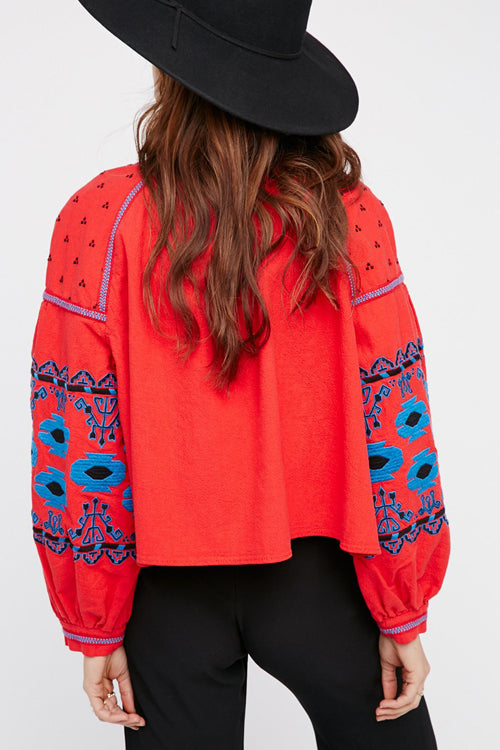 Red Ethnic Embroidered Coat