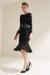 Black Lace Stereo Flowers Midi Dress