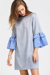 Spliced Ruffle Sleeve Sweatshirt