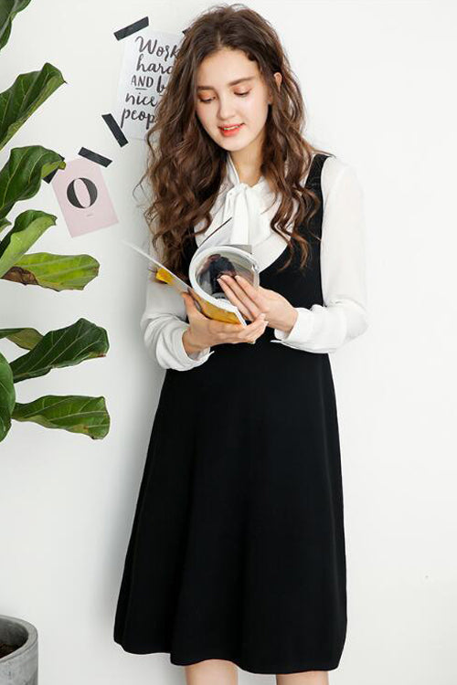 Black&White Long Sleeve Spaghetti Suit