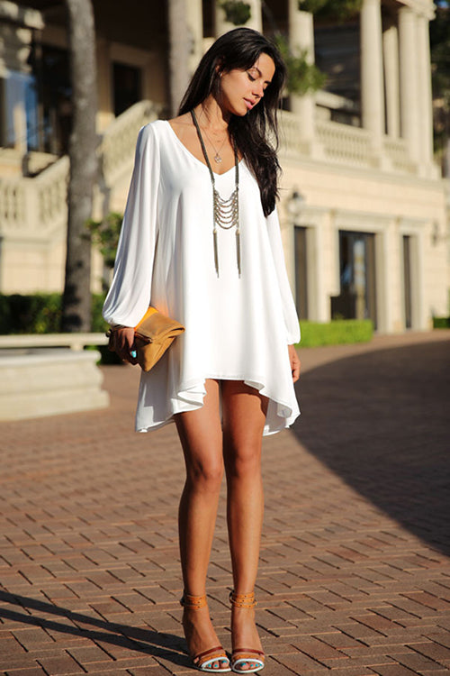 V-Neck Cutout Mini Dress