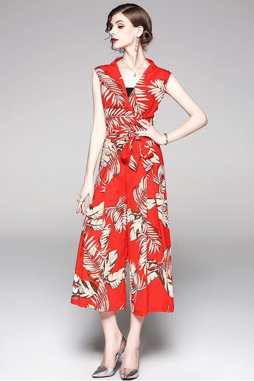 Red Print Waist Jumpsuit