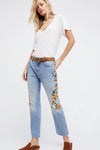 Flower-Embroidered  Jeans