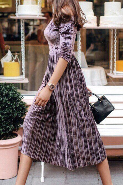 Dream Girl Half Sleeve Pleated Midi Dress