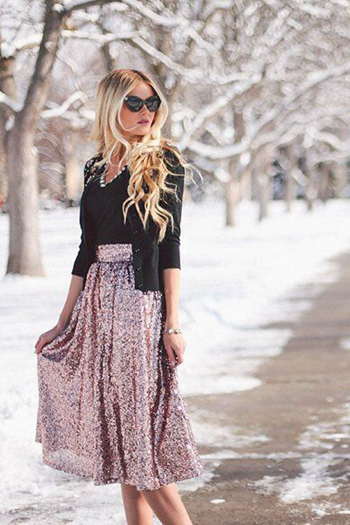 Gold Print Sequin Skirt