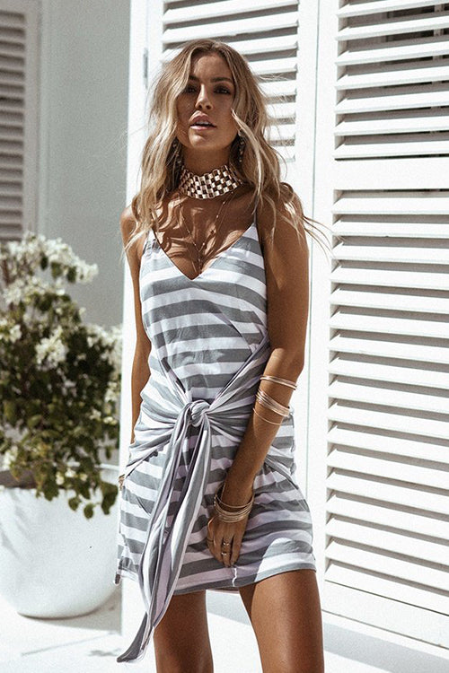 Grey Stripe Tie Dress