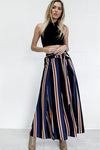 Color Stripe Ultra-wide-leg Trousers