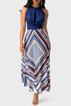Halter Neck Geometric Print Maxi Dress