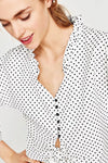 Flare Sleeve  Polka Dot Shirt