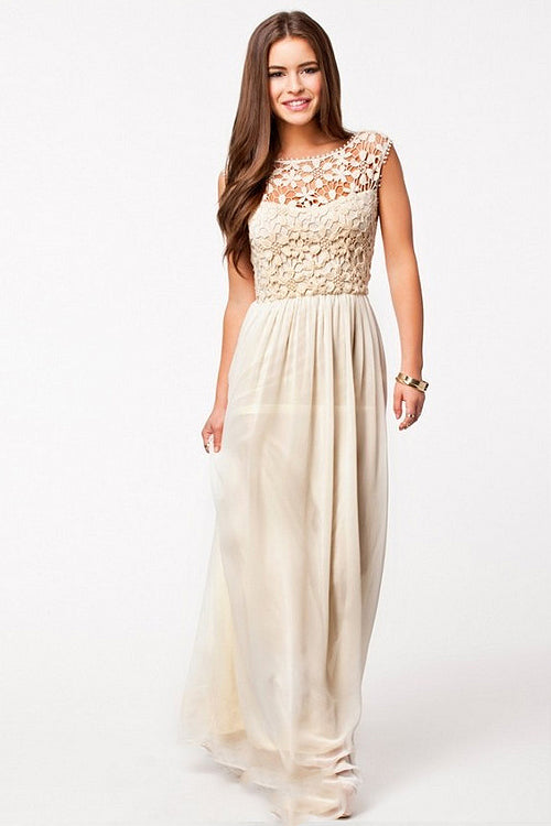 Lace Hollow-out Tulle Maxi Dress