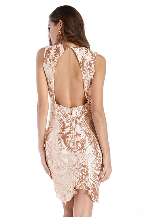 Golden Sequin Backless Body-Con Dress