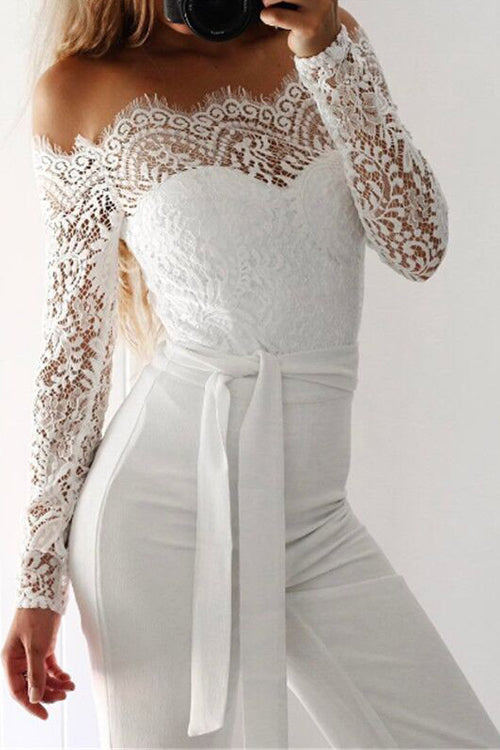 White Lace Sliced Jumpsuit