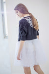 Tulle Polka Dot Short Knit Cardigan