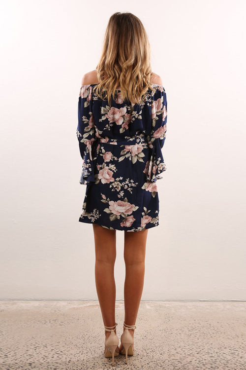 Off the Shoulder Print Mini Dress