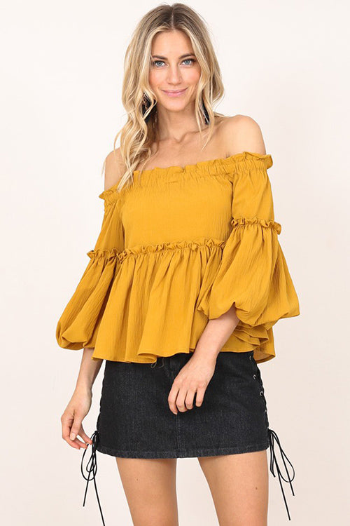You Do You Off Shoulder Ruffle Top