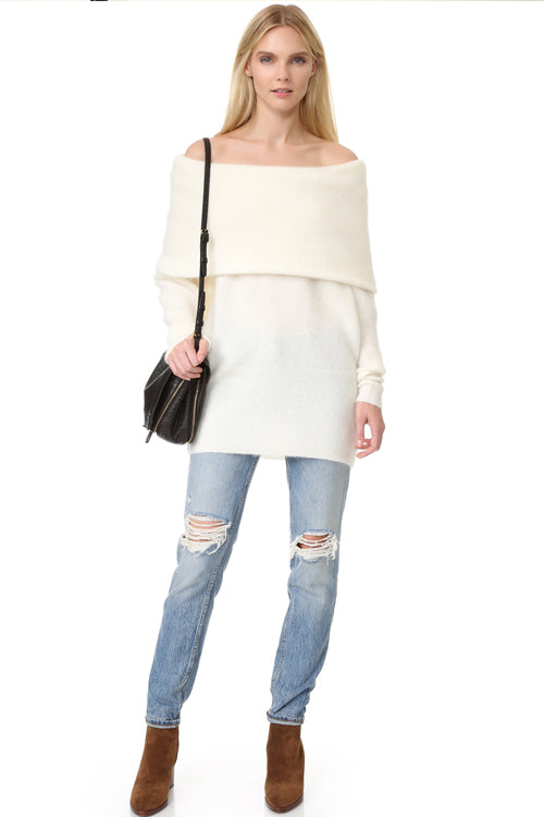 White Off Shoulder Oversize Sweater