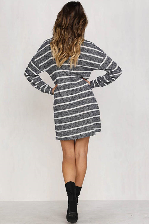 Cozy Delight Stripe Mini Dress