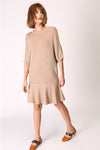 Half Sleeve Ruffle Hem Knit Dress
