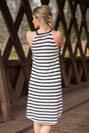 Black Stripe Halter Neck Sleeveless Dress