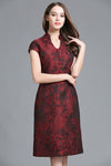 Chinese Style Embroidered Short Sleeve Midi Dress