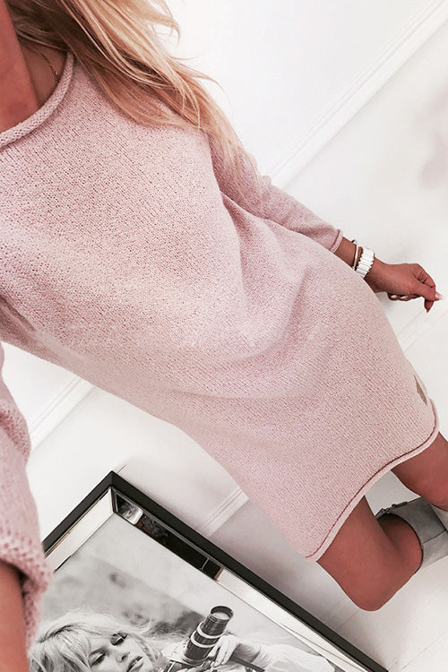 Pure Color Crew Neck Dress