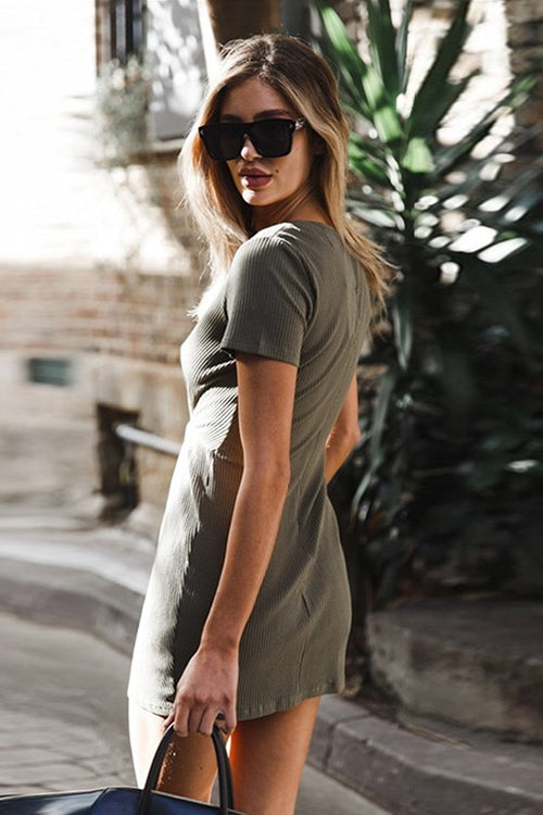V-Neck Olive Mini Dress