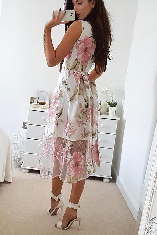 Floral Embroidered Tulle Midi Dress
