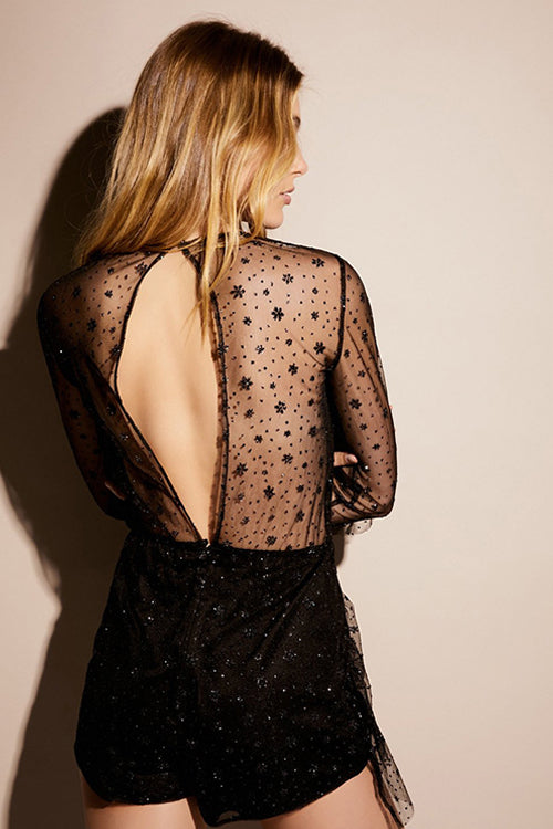 Sequin-embellished Tulle V-back Jumpsuit