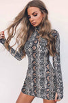 Artificial Snake Print Mini Dress