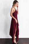 V-Neck Spaghetti Irregular Hem Maxi Dress
