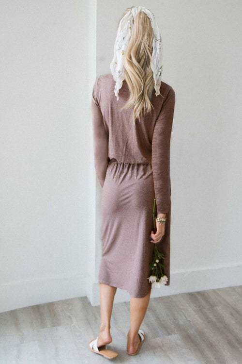 Cozy Life Tie Pocketed Dress