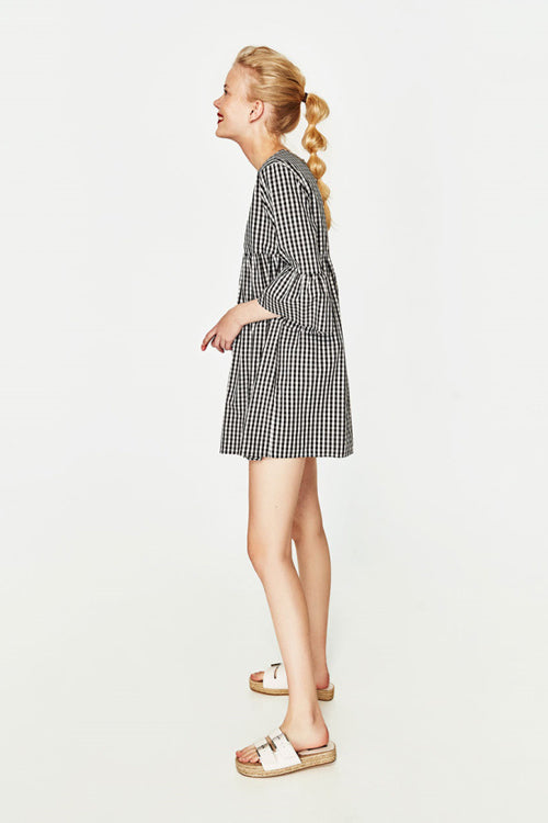 Check Pattern Bell Sleeve Dress