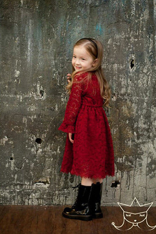 Red Ruffle Lace Dress