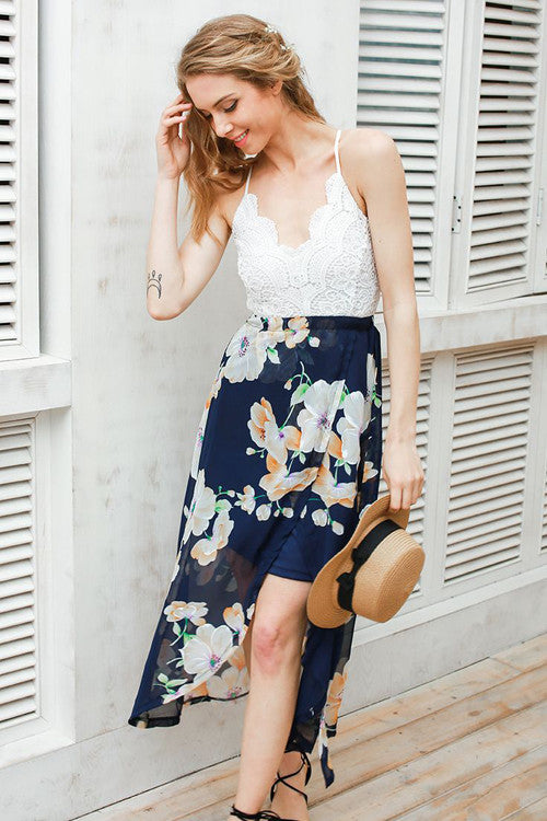 Backless Lace&Chiffon V-neck Midi Dress