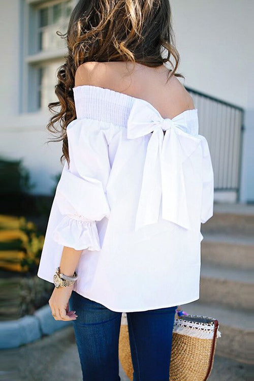 Off Shoulder Bowknot Ruffle Top