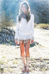 Hollow-Out Fringe Dress