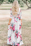 V-neck Print Fit&Flare Maxi Dress